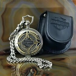 New Franklin Mint Harley Davidson Badge Of Honor Pocket Watch With Case