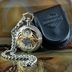 New Franklin Mint Harley Davidson One With The Wind Pocket Watch With Case