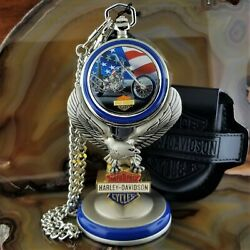 New Franklin Mint Harley Davidson Ultimate Chopper Pocket Watch With Eagle Stand