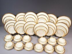 Minton Winchester K132 Gold Encrusted Dinner Set Plate Cream Soup Bowl For 12