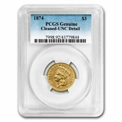 1874 3 Gold Princess Uncirculated Details Pcgs Cleaned - Sku241272