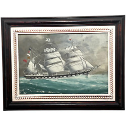 Watercolour Champion Of The Seas Ship Black Ball Line Off Cape Of Good Hope