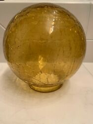Vintage Amber Gold Crackle Glass Globe Ball Lamp Shade 2.75 Fitter Art Deco Mcm