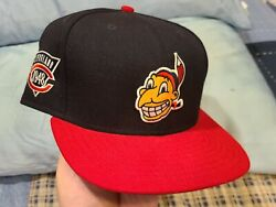 Vintage Cleveland Indians Cooperstown Fitted Snapback Hat Wahoo New Era Sz 7 1/2
