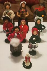 Vintage 9 Piece Lot Of Byers Choice Carolers