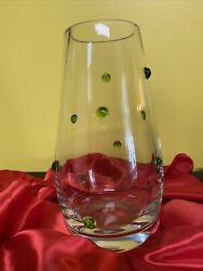 Southern Living Large Clear Verde Vase With Green Glass Raised Dots Heavy 11