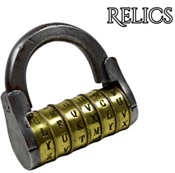 Antique 6 Wheel Combination Old Padlock Brass And Steel With Code Lisboa 290 Grams