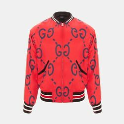 Ghost Print Satin Duchesse Bomber Jacket In Red