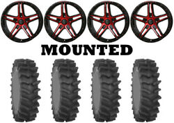 Kit 4 System 3 Xm310r Tires 35x9-20 On Frontline 505 Red Wheels Hp1k