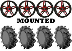 Kit 4 High Lifter Outlaw 3 Tires 35x9-20 On Frontline 505 Red Wheels Hp1k