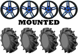 Kit 4 High Lifter Outlaw 3 Tires 35x9-20 On Frontline 505 Blue Wheels Hp1k