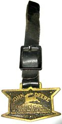 1936 John Deere 12 Sided Logo Trademark Watch Fob With Original Leather Strap