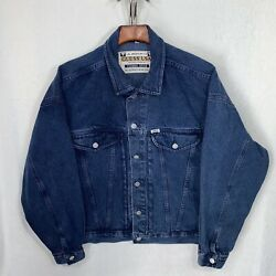 Vintage Guess Georges Marciano Denim Trucker Jean Jacket Large Blue Cotton Usa