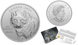 2021and039wolf Sketch By Robert Batemanand039 Prf 100 Fine Silver Coin Rcm-20157220227