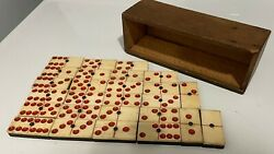 Antique Dominoes W/ Wooden Box Ebony / Bone With Brass Pins Red Dots / Pips