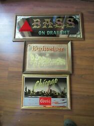 3 Beer Vintage Mirror Signs - Budweiser Clydesdale Bass Draught Chicago Coors