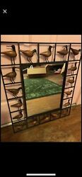 Beautiful Vintage Wrought Iron Mirror With Wooden Ducks