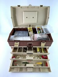 Vintage 90s Plano 757 Fishing Tackle Box 4 Drawer And Top W/ Lures Tackle Hooks