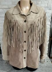 Vintage Bob Mackie Tan Leather Button Up Jacket With Fringe For Women Large