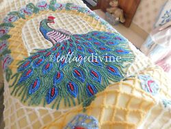 Sunny Solitary Peacock Colorful Trellis Floral Vtg 1940s Chenille Bedspread Full
