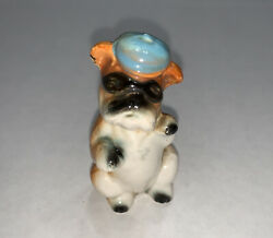Vintage Bull Dog Figurine Brown amp; White Wearing A Blue Hat 1950s Japan 2 1 4quot; T