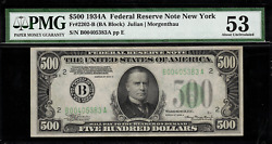 1934a 500 Federal Reserve Note New York Fr-2202-b - Graded Pmg 53 About Unc.