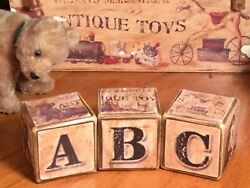 Handcrafted Wooden A-b-c Blocks Set Of 3 With Antique Steiff Teddy Bear Pictures