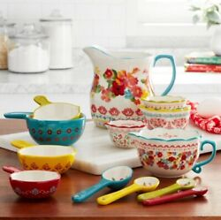 NEW The Pioneer Woman Wildflower Whimsy Durable Stoneware 13 Piece Measuring Cup