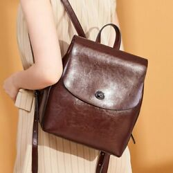 Women Casual Backpack Genuine Leather Oil Wax Rucksack Solid Vintage Accessory