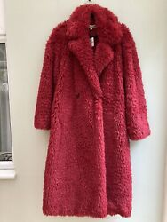 Free People Coat Maxi Teddy Faux Fur Style Large Uk 14 Lined Rouge Orp Andpound188 Bnwt