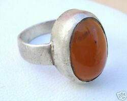 ANCIENT ETHNIC TRIBAL OLD SILVER ONYX GEMSTONE RING IND