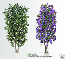 2 Very Full Ficus + Wisteria Real Wood Artificial Potted Trees Plant Deco Vb