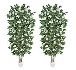 2 Potted 7and039 Real Wood Artificial Camellia Trees Dandeacutecor