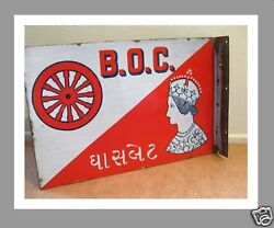 Vintage Burmah Shell Oil 2 Sided Enamel Sign With Queen