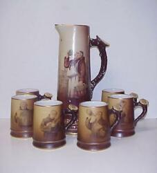 The Great Western Pottery Co. Pitcher Tankards Monk Antique Excellent