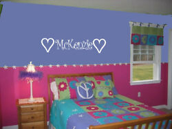 PERSONALIZED GIRLS NAME AND HEARTS DECAL VINYL WALL ART NURSERY ROOM KIDS ROOM $8.45