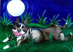BOSTON TERRIER NIGHT 8X10 Dog Signed Art PRINT of Original Oil Painting by VERN