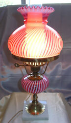 Mintyvintage1950and039sfenton Glassstudent Lampcranberry Opalescentspiral Optic