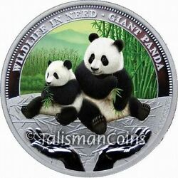 Tuvalu 2011 Wildlife In Need 1 Giant Panda Bear 1 Pure Silver Proof With Color