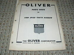 Oliver White Tractor Ubw Spike Tooth Harrow Dealer's Parts Book
