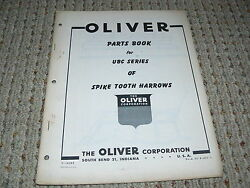 Oliver White Tractor Ubc Series Spike Tooth Harrow Dealer's Parts Book