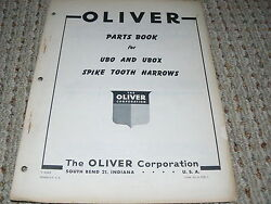 Oliver White Tractor Ubo And Ubox Spike Tooth Harrow Dealer's Parts Book