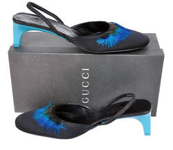 S/s 1999 Vintage Tom Ford For Black Crepe Satin Shoes W/ Feathers 8