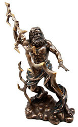 Greek King Of The God Zeus With Thunderbolt Figurine 11.25