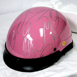 New Motorcycle Scooter Half Face Helmet Pink Flame Size M L Xl Xxl Vespa