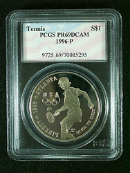 1996 P Tennis Olympic Games With Flag Insert Proof Silver Dollar Pcgs Pr69dcam