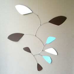 Abstract Modern Funky Baby Boy Hanging Mobile Blue And Brown Museum Quality New