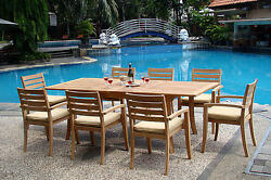 Trav 9-pc Outdoor Teak Dining 94 Rectangle Extn Table 8 Stacking Arm Chairs