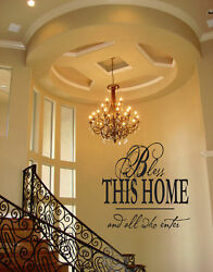BLESS THIS HOME VINYL WALL DECAL QUOTE WORDS STICKERS LETTERING WALL DECAL