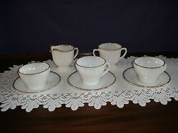 Fire King Fireking Anniversery White Swirl 8 Pc 3 Cups And 3 Saucers Beautiful